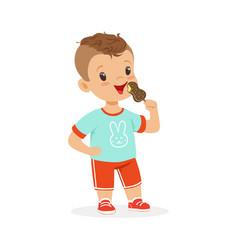 cute little boy character eating ice cream cartoon vector image vector image