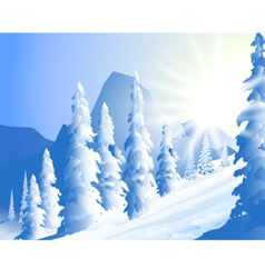 Morning Sun shine and winter landscape vector image