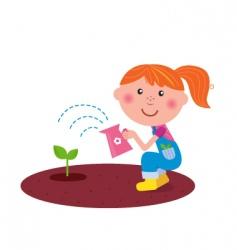 small gardener watering plant vector image
