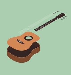 Acoustic guitar isometric flat design vector image