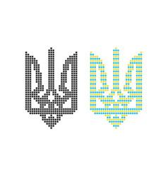 black and colored pixel art ukrainian emblem vector image
