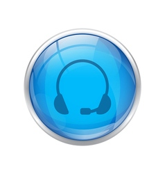 blue headset button vector image