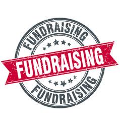 Fundraising round grunge ribbon stamp vector