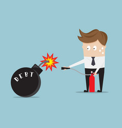 businessman use fire extinguisher for stop debt vector image