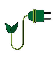 color image cartoon green plug electricity vector image