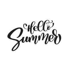 hello summer hand drawn lettering handwritten vector image