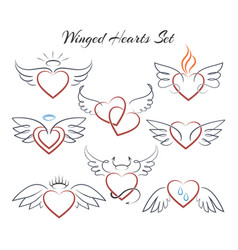 winged heart set hearts with wings in doodle vector image vector image