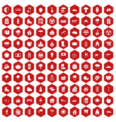 100 country house icons hexagon red vector