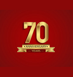 70 years anniversary golden design color vector