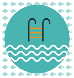 Abstract with a pool ladder and water with waves vector