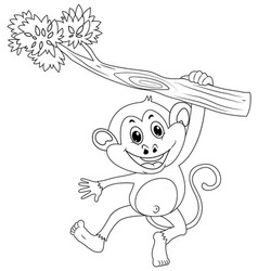 Animal outline for monkey on branch vector