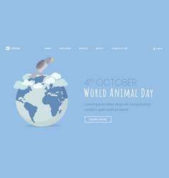 animals protection day landing page template vector image