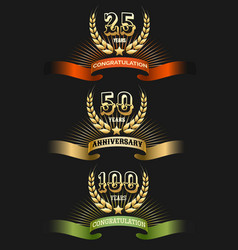 Anniversary golden logo set vector