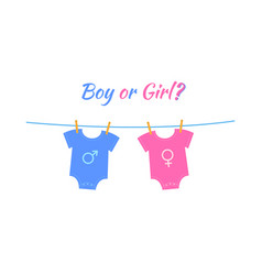 Baby boy and girl bodysuits with gender signs vector