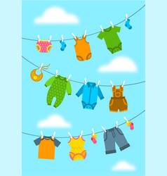 Baclothes hanging on ropes with clothespins vector