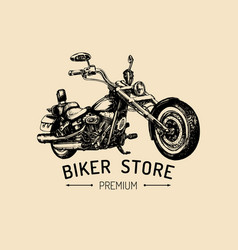biker store advertising poster hand drawn vector image