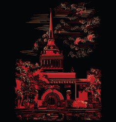 black and red hand drawing st petersburg 2 vector image
