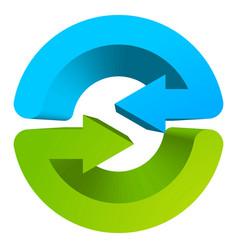 blue and green circular arrow symbol icon vector image