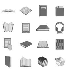 Book icons set black monochrome style vector