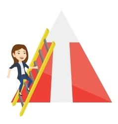 Business woman climbing on mountain vector