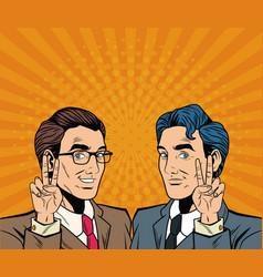 businessman pop art cartoon vector image