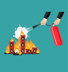 Businessman with fire extinguisher is fighting vector