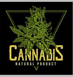 Cannabis natural product print vector