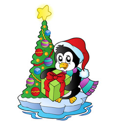 Cartoon penguin with christmas tree vector