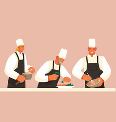chefs prepare dishes in restaurant kitchen for vector image