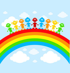 children on a rainbow vector image