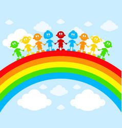 children on a rainbow vector image