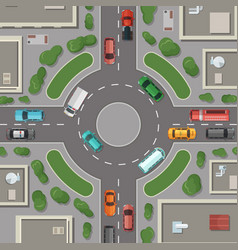 city buildings roads and cars top view vector image