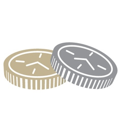 Coins with clock face vector
