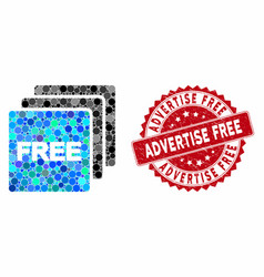Collage free items with grunge advertise free vector