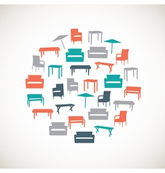 Colorful furniture icons - outdoor vector