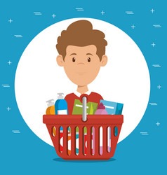 consumer with shopping basket of groceries vector image