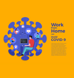 Covid-19 work from home 22 vector