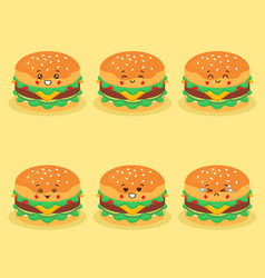 Cute burger with various expression vector