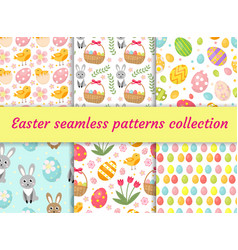 Cute easter seamless pattern collection with birds vector