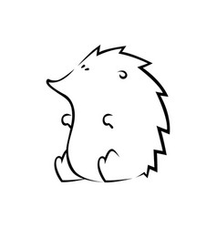 cute hedgehog silhouette on white vector image