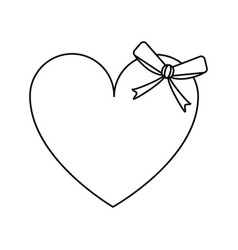 Cute love heart passion with bow line vector