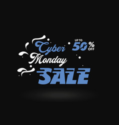 cyber monday white and blue sale banner vector image