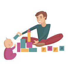dad with baby cartoon vector image