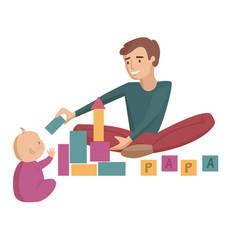 dad with baby cartoon vector image