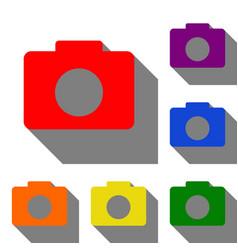 digital camera sign set of red orange yellow vector image
