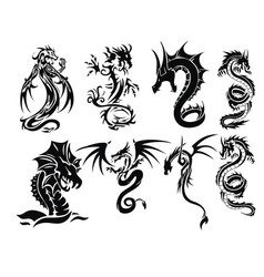 Dragon tattoo set vector
