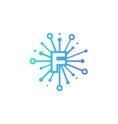 f share letter logo icon design vector image