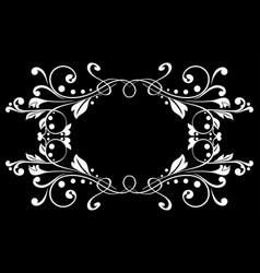 Floral ornament on black background vintage frame vector