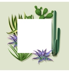 Frame with cactuses and succulents set Plants of vector