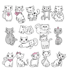 funny cats doodle pets hand drawn characters vector image